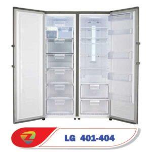 فضای داخلی یخچال و فریزر دوقول ال جی 401-404