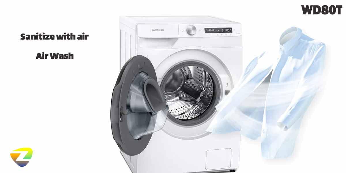 شستشو با بخار در ماشین لباسشویی سامسونگ WD80T
