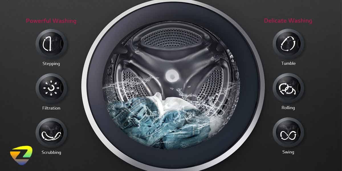 حرکت های شستشو در ماشین لباسشویی ال جی J1